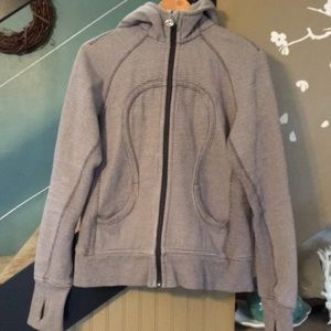 Tops - LULULEMON gray multi-stripe scuba hoodie